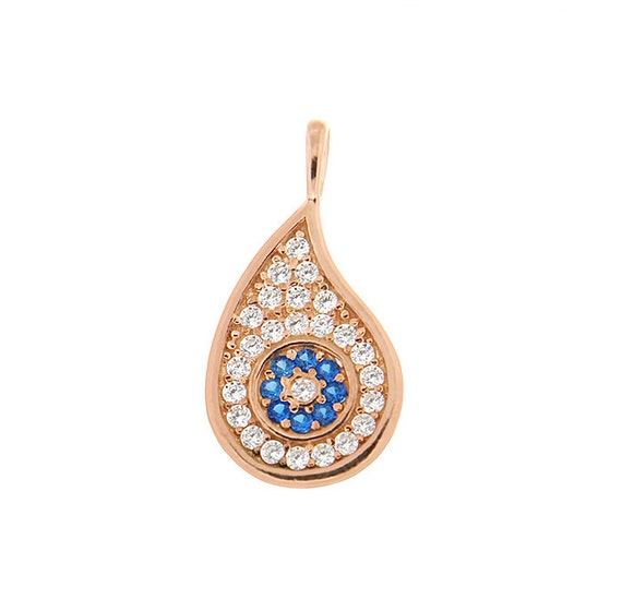 Evil eye pendant silver 925 with white and blue zircon