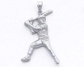 Sterling Silver Baseball Player Pendant, Baseball Player, Baseball, Baseball Bat, Baseball Jewelry, Silver Baseball, Base Ball, Silver