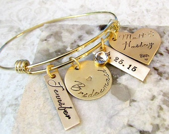 Bridesmaid Personalized Hand Stamped Gold Bangle Bracelet - Wedding, Bridesmaid Gift