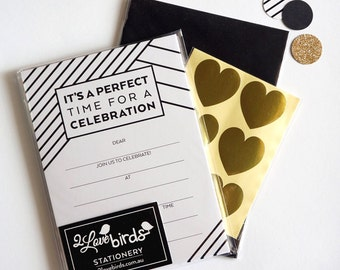 Perfect Fill-in Black & White Invitations, envelopes and stickers SET, birthday invitations, invitation set