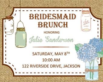 Rustic Mason Jar Bridesmaid's Brunch Invitation and Envelopes
