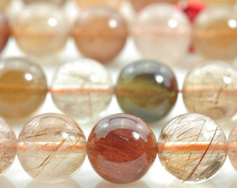47 pcs of Natural Miscellaneous Rutilated Quartz,raw mineral drusy rock, smooth round stone beads in 8mm