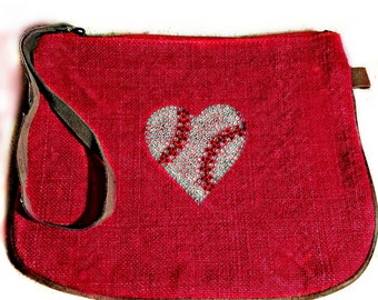 The sofest Red Kilim Wristlet with bling baseball heart