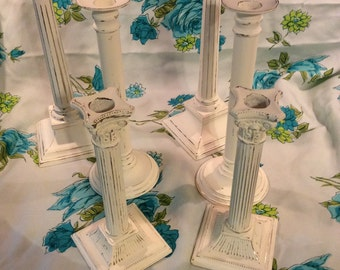 Hand painted candle holders/ wedding candle holder/ cottage chic candle holders/ wedding decor/ french country candle holders