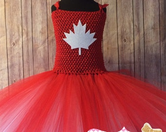 Canada Day dress. Canada. Red and white tutu. Maple leaf tutu dress. Canada day. Canada day tutu dress. Celebration dress. Celebration tutu.