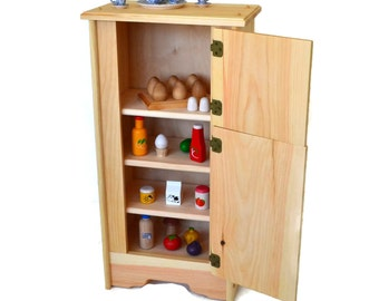 Natural Wooden Toy- Kitchen Icebox/Refrigerator-Waldorf play kitchen-Montessori wooden toy-Child's Kitchen-David's Icebox