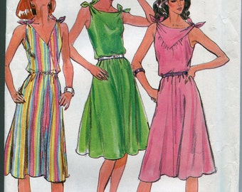 1980s Halter Dress Pattern Butterick 3727 Halter Top Sleeveless Vintage Womens Dress Patterns Size 8-12 uncut