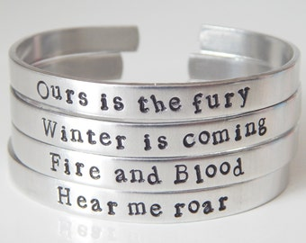 Game Of Thrones Inspired - One Cuff Bracelet of your choice - Gift Under 20