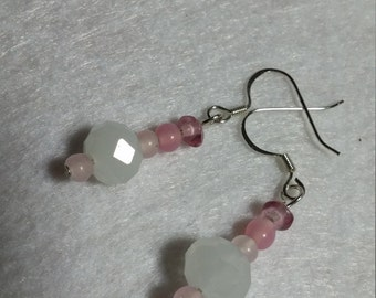 Pink and Opaque White Czech Crystal Earrings