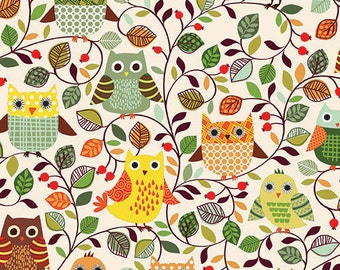 1/2 yard FOREST FRIENDS by Makower U.K. for Andover Fabrics Owls Cream