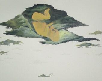 Conversation Art Piece Odd Baby Painting - quirky original acrylic India ink, sky child