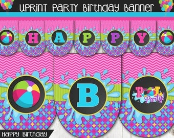 Girl Pool Party Happy Birthday Happy Birthday Banner with name