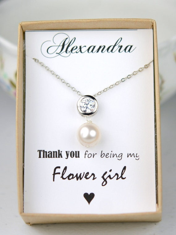jewelry Bridal heart Drop NECKLACE flower girl Junior bridesmaid gifts ...