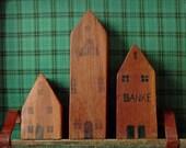 Reserved* Rustic Handmade Village / 40's Vintage Hardwood / Vintage Toys / Props