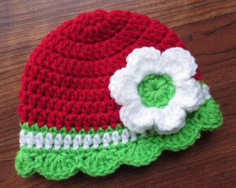 Crocheted Baby Girl Christmas Hat with Flower and Rufle Edging ~ Bright Red, White & Spring Green ~ Newborn to Big Kid - MADE TO ORDER