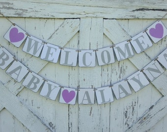 Welcome Baby Banner, custom name,  baby shower banner, shower decoration
