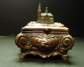 Rare and Unusual, a Metal Vintage Trinket Box -Norte Dame Cathedral