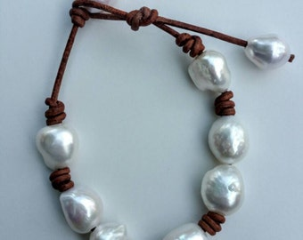 12mm baroque freshwater pearls on natural light brown leather