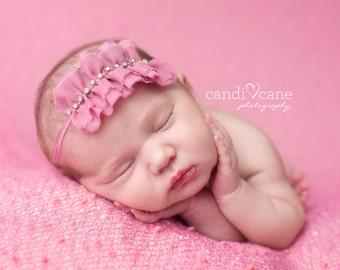 RUFFLE HEADBAND, PInk Ruffle Headband, PInk Rhinestone Headband, Newborn Headband, Baby Headband, Newborn Headband, Photography Prop