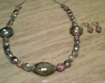 Green and Pink Handmade Glass Beads Necklace and Earrings Set