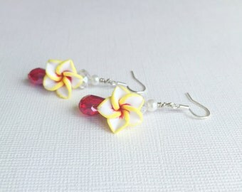 ON SALE Yellow, White, and Red Plumeria Flower Earrings