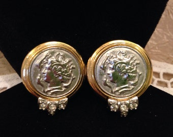 Signed CRAFT lady Cameo Rhinestone Clip Earrings