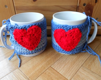 Knit mug cozies - Set of 2 blue hand knitted coffee cup holders with hearts - I love you tea mug warmers - Anniversary, Valentine's Day...