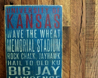 University of Kansas Jayhawks Distressed Wood Sign-Great Father's Day Gift!