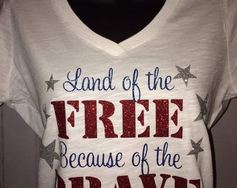 Women's Star Land of the Free Because of the Brave, Patriotic T-Shirt, America,  Glitter TShirt