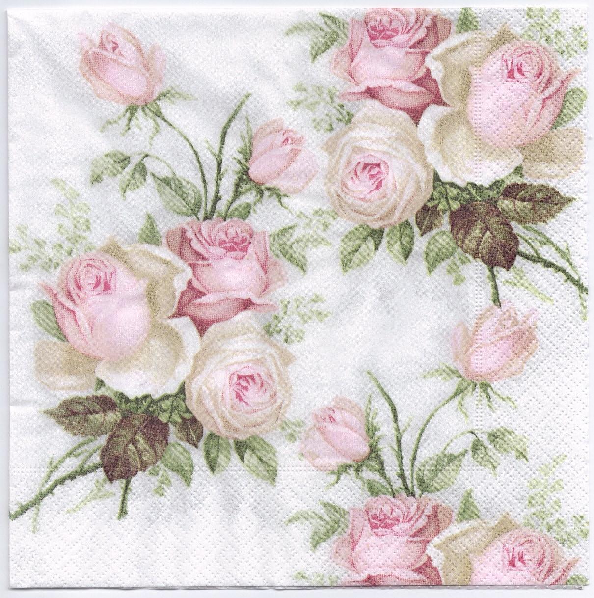 Decoupage Napkins Pastel Rose Bouquet Design Dinner