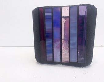 Cube mosaic candle holder, mosaic votive with stripes purple and pink, glass candle holder, modern home decor, housewarming gift, apartment