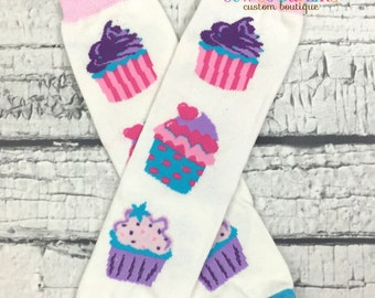 Cupcake leg warmers - birthday leggings - baby leg warmers