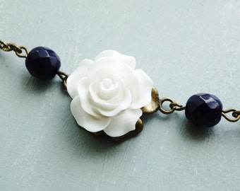 Vintage Style Assymetrical navy and white rose Necklace