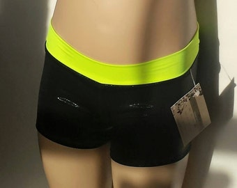 Gymnastics Shorts, Girls Size 4, Shiny Black / Neon Low Waisted Shorts for Gymnastics,  Dance and/or Cheerleading