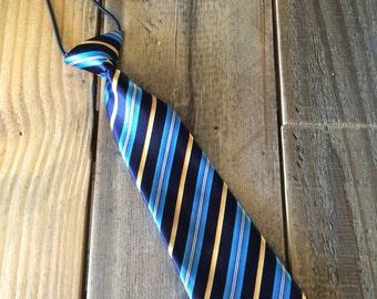 Navy Striped Tie, Toddler Navy Striped Tie, Striped Tie, Blue Tie, Child Tie, Child Striped Tie, Child Blue Tie
