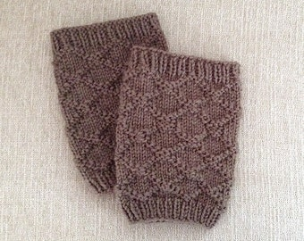 Boot Cuffs, Boot Toppers, Leg Warmers, Brocade Boot Cuffs, Hand Knit Boot Wear, Boot Fashion_Taupe Brown