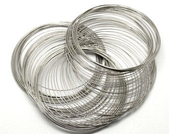 70-75MM Silver Tone Steel Memory Wire - 25/50 Loops