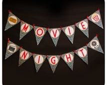 Movie Night Banner; Movie Night Party Banner; Movie Night Birthday Party Banner Printed, Cut, and Shipped to you!!