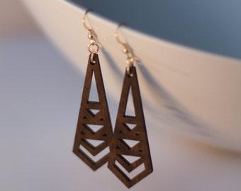 Triangles Drop Wood Earrings in Walnut