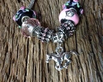 Horse bracelet: Pink and silver horse charm bracelet,running horse European bead bracelet, girls horse jewelry