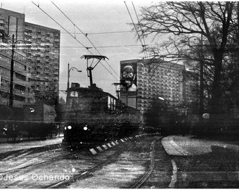 Warsaw photo .Poland photography.Urban Black and white picture. Travel Photo.Tram.Palace of Culture and Science. pictures of europe