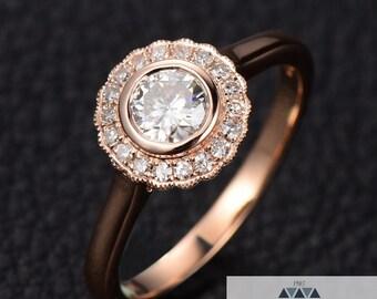 Bezel Set Moissanite Diamond Halo Engagement Ring