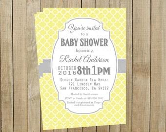 Yellow Quatrefoil with Gray Baby Shower Invitation, Custom Digital File, Printable