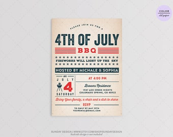 Rustic Typography 4th of July BBQ Party Invitation - DIY Printable Digital File - Independence Day Barbecue Party