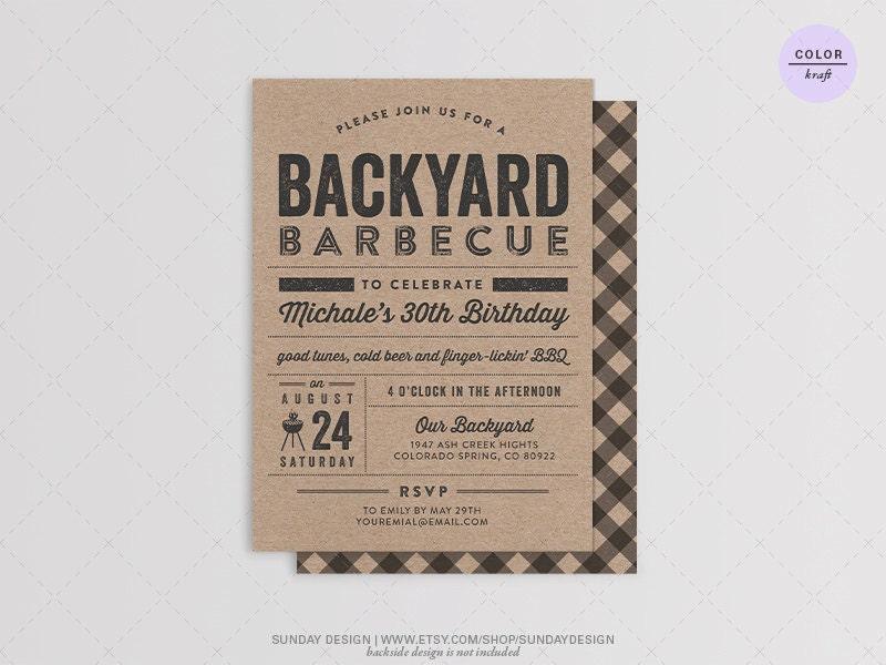 Backyard Bbq Wedding Invitations: Backyard BBQ Birthday Party Invitation Card DIY By