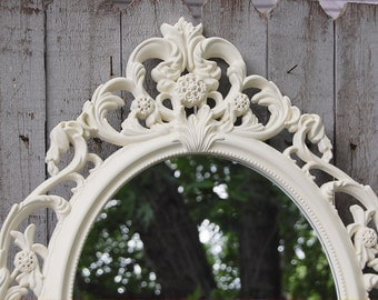 Mirror, Shabby Chic, Baroque Mirror, Ivory, Oval, Wall Mirror, Upcycled, Ornate, Wedding Decor, Hand Painted, Photo Prop