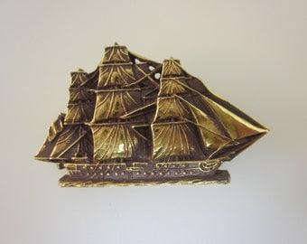 Gold Tone Schooner Ship Brooch