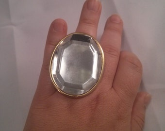 Altered Oversized Plastic Faceted Mirror Brooch into a silver metal color Adjustable Ring