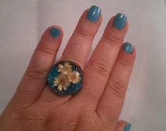 Blue Floral Resin ring size 7