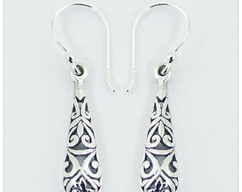 Oxidized Antique Finish 925 Sterling Silver Engraved Earring